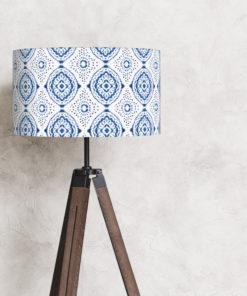 abażur do lampy stojącej biało niebieski walec bawełna