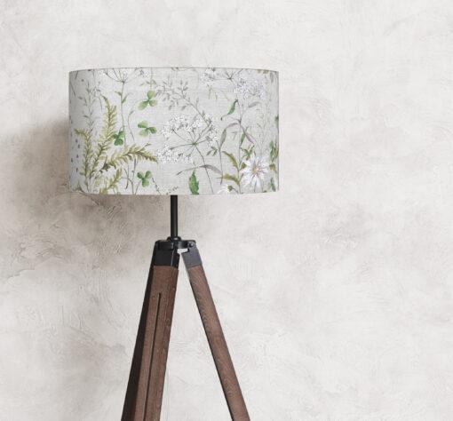 abażur lniany do lampy stojącej kwiaty polne