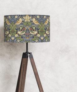 abażur niebieski william morris na lampę stojącą vintage