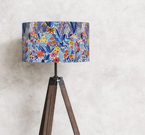 abażur niebieski do lampy podłogowej cylinder