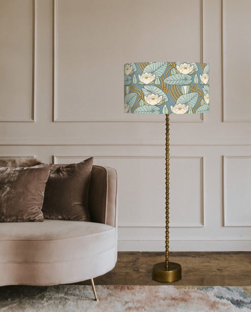 abażur niebieski art deco na lampę podłogową cylinder