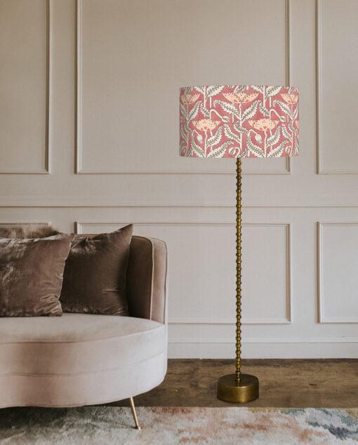 abażur art deco maki na różowym tle walec