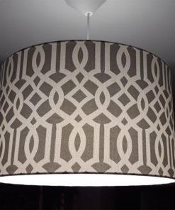 abażur szary do lampy sufitowej kształt cylindra bawełna