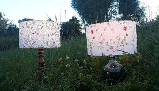 abażur do lampy biały w kwiaty