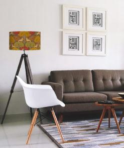 abażur z motywem art deco do lampy podłogowej