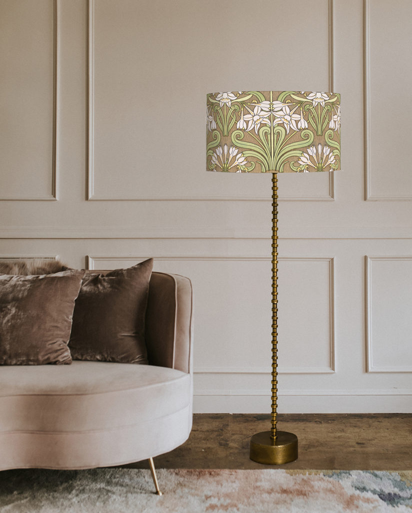 abażur na lampę podłogową z motywem art deco