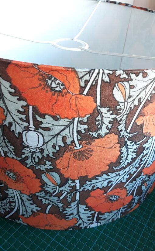 abażur brązowy z materiału na lampę podłogową art deco kwiaty