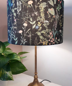 abażur czarny do lampy kwiaty polne kształt walca