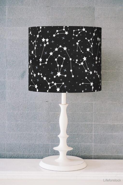 abażur czarny w białe gwiazdki na lampę stołową biurkową