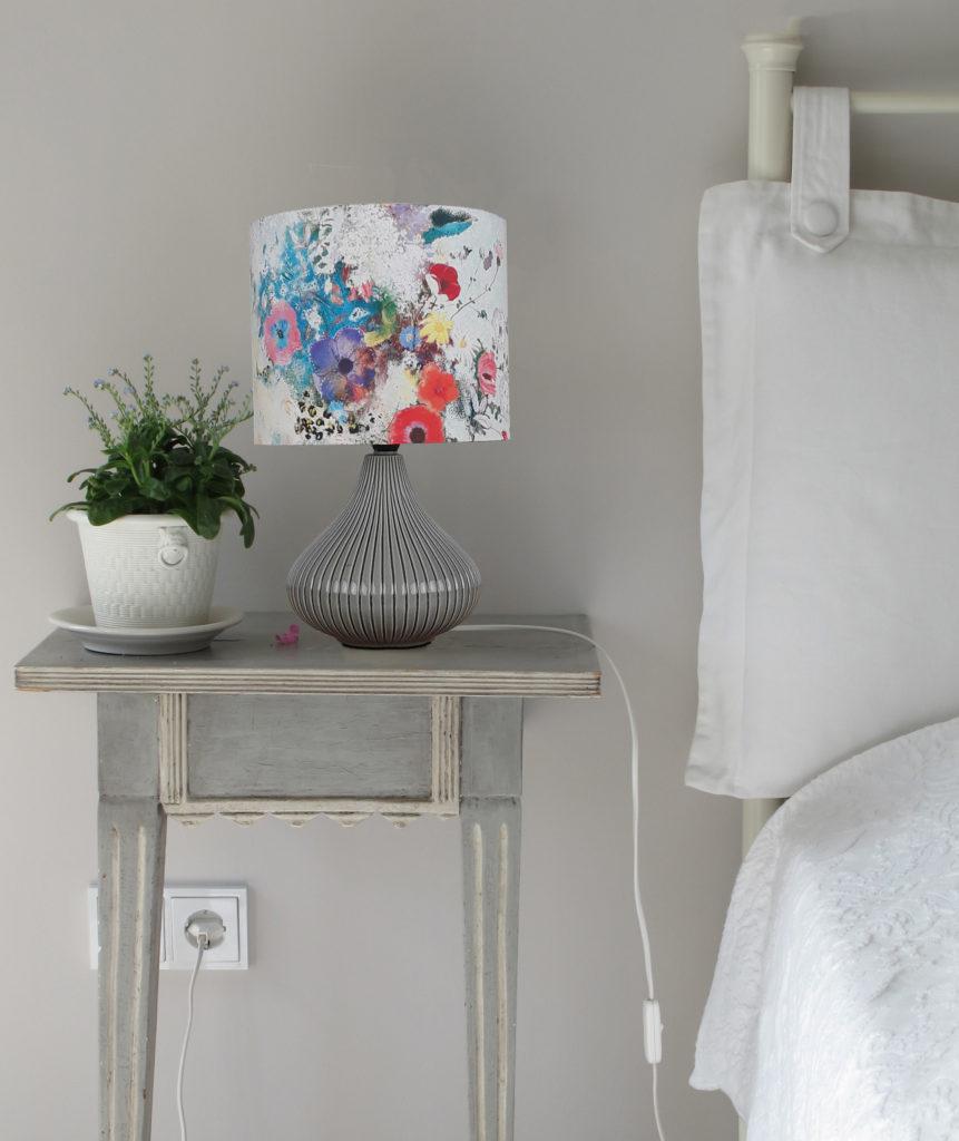 lampa ceramiczna szara z abazurem
