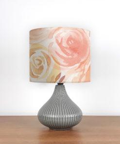 lampa ceramiczna szara z abażurem