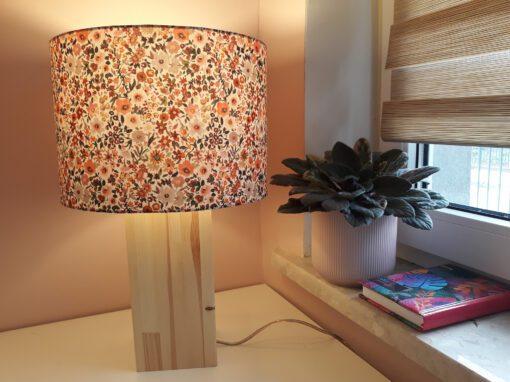 abażur do lampy beżowy w kwiaty