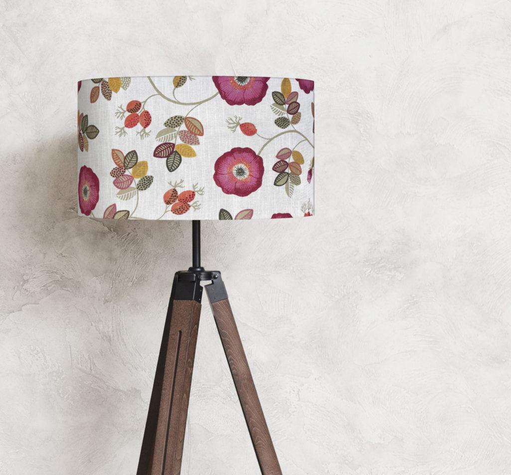 abażur do lampy len kwiaty