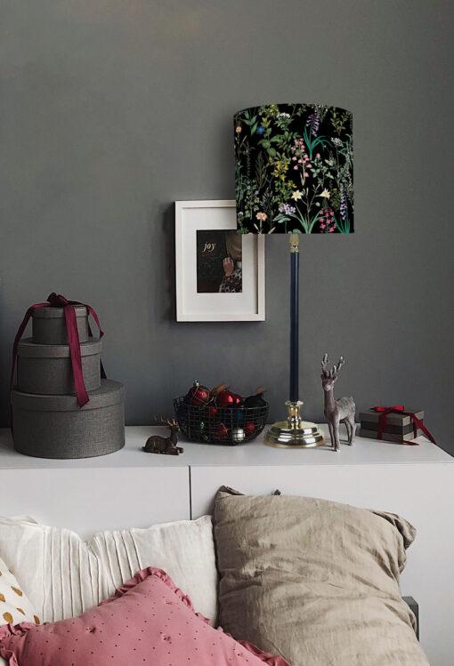 lampa nocna stołowa czarna metalowa z czarnym abażurem