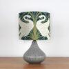 lampka nocna ceramiczna szara z abażurem