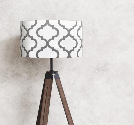 abażur biało-szary na lampę stojącą cylinder