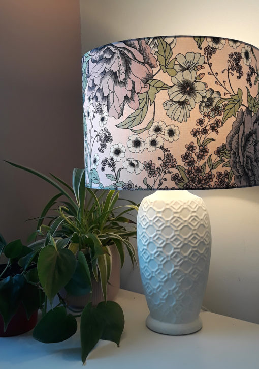 abażur do lampy różowy w kwiaty cylinder
