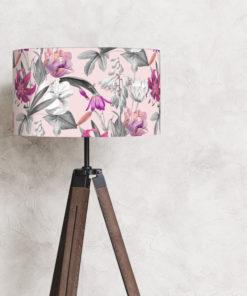 abażur różowy do lampy stojącej podłogowej cylinder