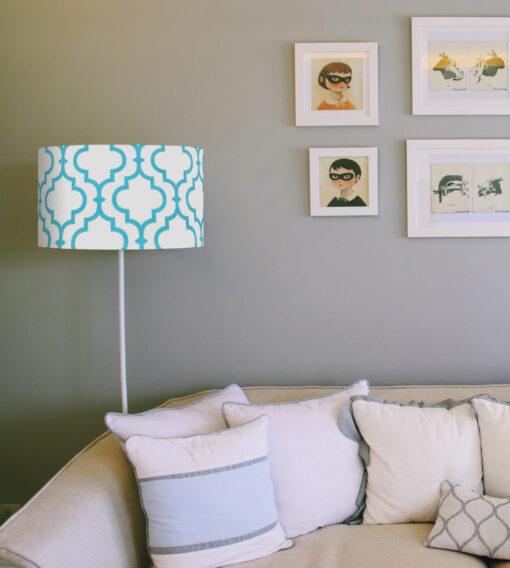 abażur koniczyna marokańska niebieska na lampe stojąca