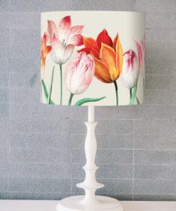 abażur beżowy do lampy stołowej kwiaty