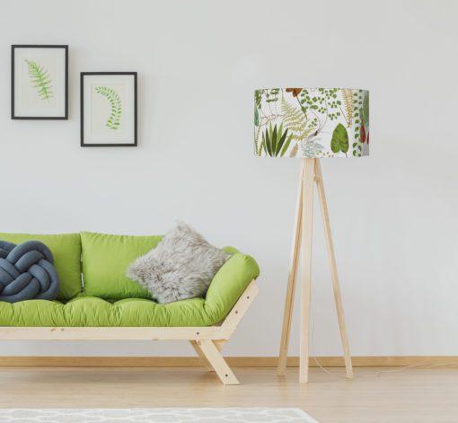 abażur klosz biało zielony paprocie