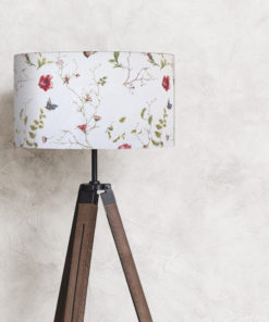abażur na lampę podłogową cylinder kwiaty rośliny biały