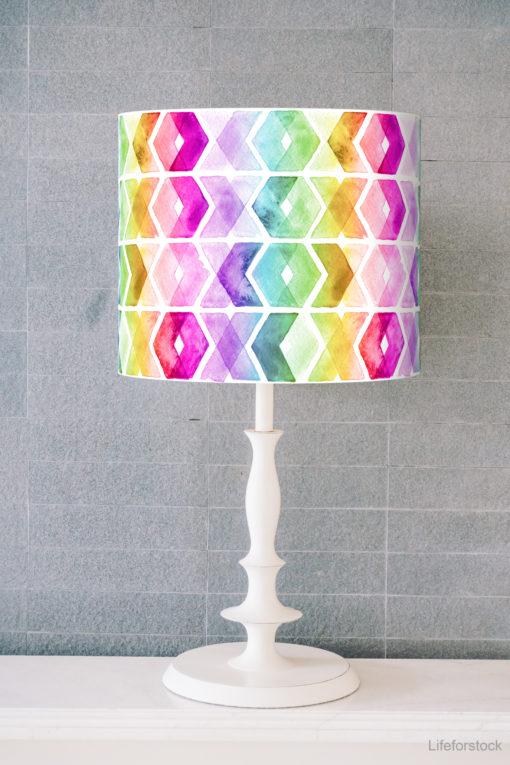 abażur tęczowy na lampę stołową walec