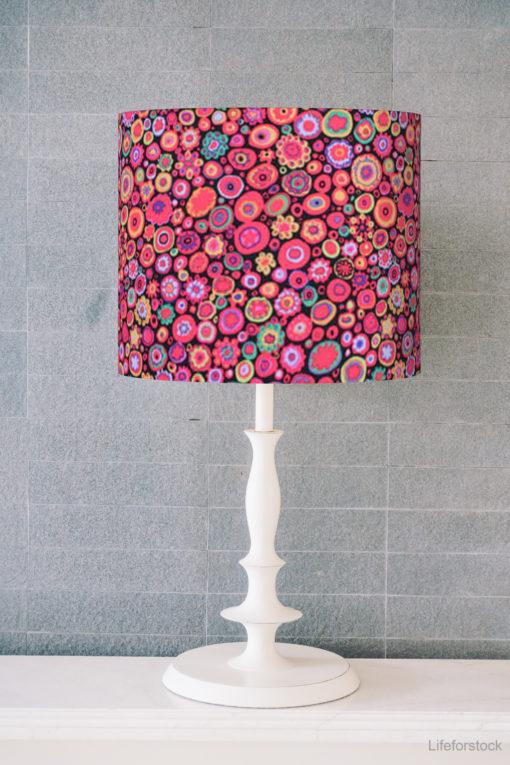 abażur różowy na lampę stołową nocną walec