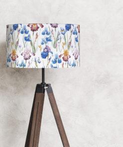 abażur do lampy stojącej biały cylinder kwiaty