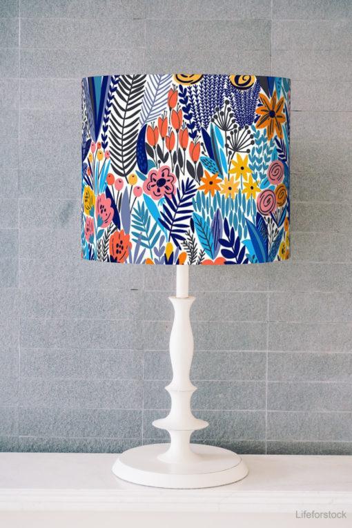 abażur niebieski na lampę stołową cylinder