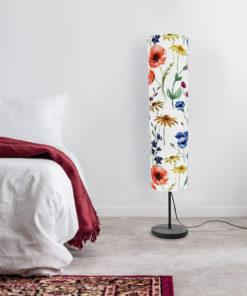 lampa stojąca podłogowa dekoracyjna abażur w kwiaty polne