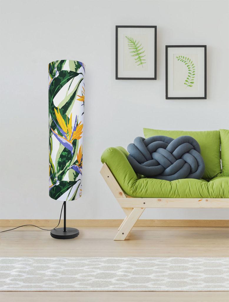 lampa podłogowa z abażurem dekoracyjna tropikalny wzór