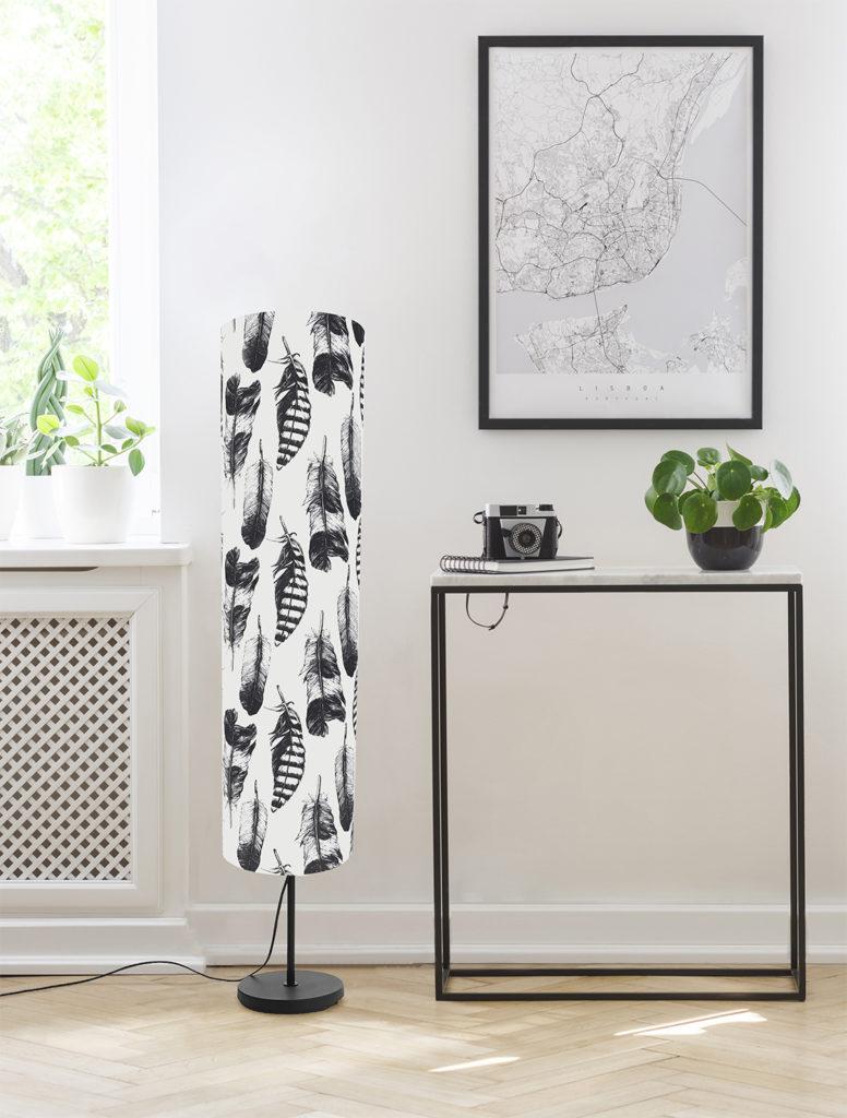 lampa podłogowa z abażurem czarno-biała dekoracyjna