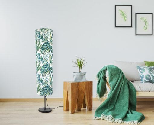 lampa stojąca dekoracyjna z abażurem liście tropikalne