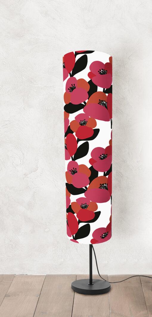 lampa stojąca podłogowa dekoracyjna abażur w kwiaty