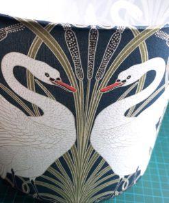 lampka szara nocna stołowa ceramiczna vintage łabędzie