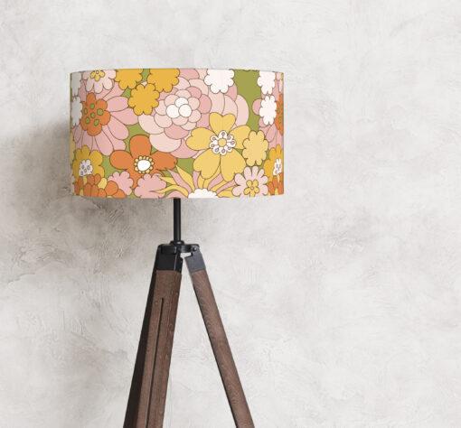 abażur kolorowy retro kwiaty na lampę podłogową cylinder