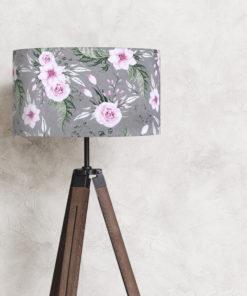 abażur szary w kwiaty do lampy podłogowej