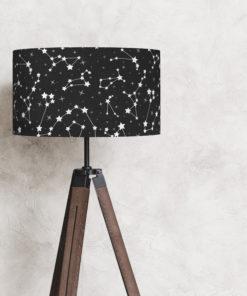 abażur czarno-biały na lampę podłogową walec