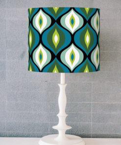abażur retro do lampy stołowej niebieski