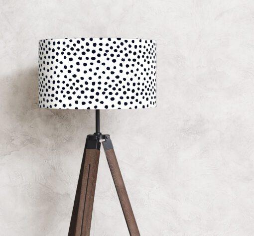abażur biało-czarny kropki na lampę stojącą