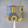 abażur, klosz niebiesko-żółty do lampy stołowej afrykański wzór cylinder