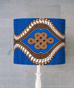 abażur, klosz brązowo-niebieski do lampy stołowej afrykański wzór cylinder