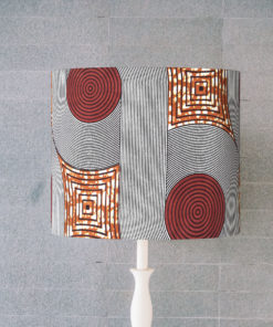 abażur, klosz brązowy do lampy stołowej afrykański wzór cylinder