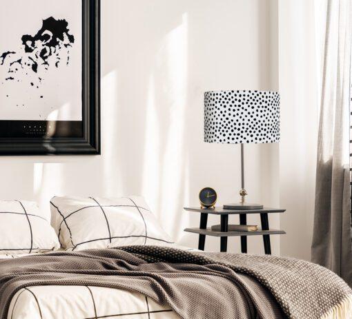 abażur czarno biały dekoracyjny do lampy walec