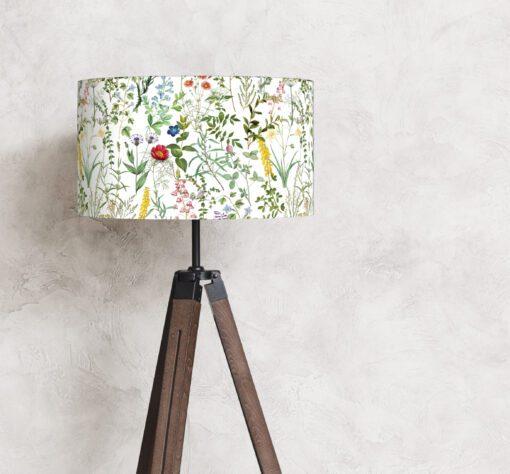 abażur, klosz na lampę stojącą biały w kwiaty cylinder