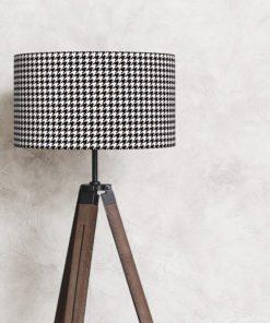 abażur pepitka czarno-biały na lampę podłogową