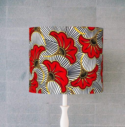 abażur klosz na lampę biało-czerwony walec