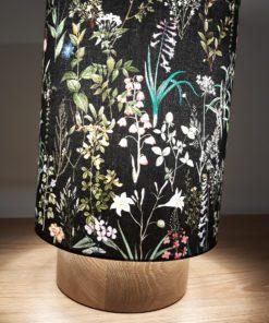 lampa dekoracyjna stołowa czarny abażur drewno