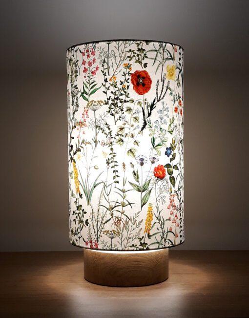 lampa dekoracyjna z abażurem nocna stołowa kwiaty polne